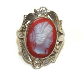 10kt wg ladies cameo ring with diamonds
