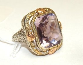 14 kt tri-color gold filagree ring with amethyst