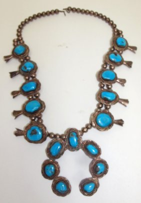 Navajo American Indian Silver And Turquoise Squash