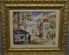MORIS GRUNBERG - CITY SCENE IN PARIS, , Signed Bo