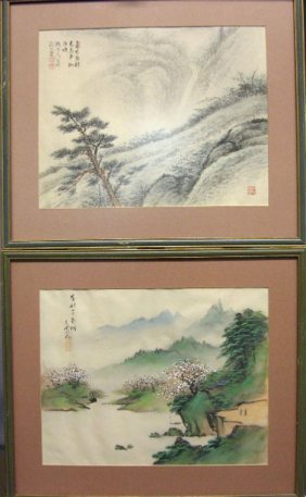 TWO CHINESE LANDSCAPES, , Signed And Stamped. Pai
