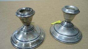 "Pair - Candlesticks,Sterling Silver Weighted, 3"" Tal"