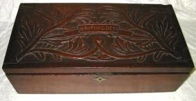 Hand Carved Top Writing Desk