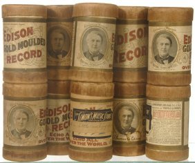 (10) ORIGINAL EDISON AMBEROL CYLINDER RECORDS IN CA