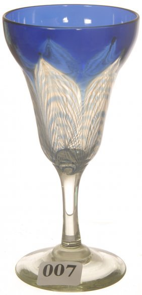 "5 1/4"" UNMARKED DURAND ART GLASS WINE GLASS"