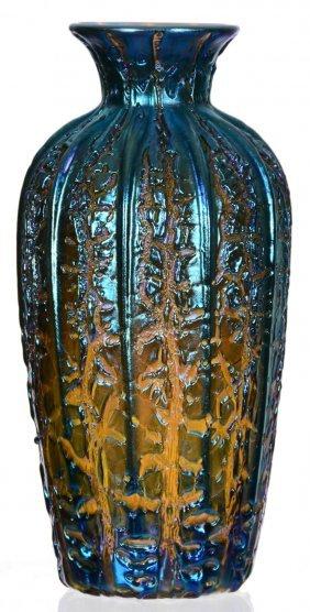 10 Quot Unmarked Durand Quot Moorish Crackle Quot Art Glass Vase Lot 18