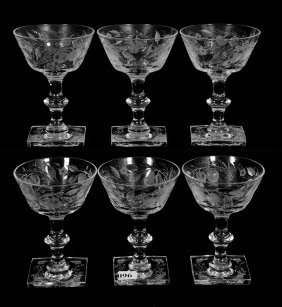 "(6) Champagne Glasses - 5"" - Abcg"