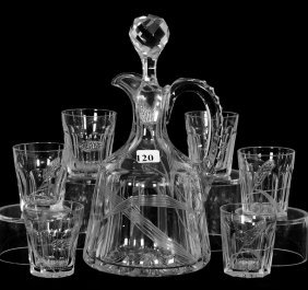 """Whiskey Set - Abcg - 9 3/4"""" Decanter & (6) Matching 2"""