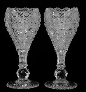 "Pair Chalice Shaped Vases - 13 3/4"" - Abcg"
