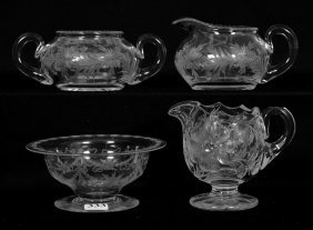 (4) Signed Tuthill Engraved Floral Items - Abcg