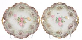 (2) R.s. Prussia Sunflower Mold Two-handled Cake Plates