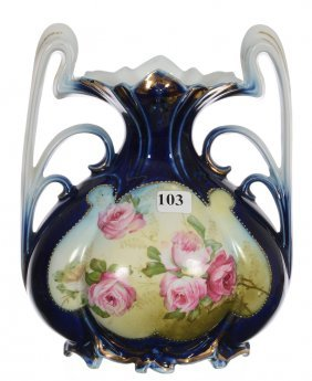 "8 3/4"" Unmarked Royal Vienna Two-handled Bulbous Vase"