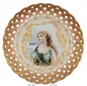 """8 1/2"""" Marked Vienna Austria Portrait Plate"""