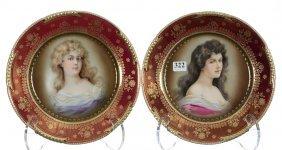 "(2) 8 1/2"" Marked Royal Vienna Portrait Plates"