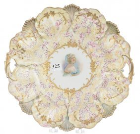 """11"""" Unmarked Prussia Two-handled Cake Plate"""