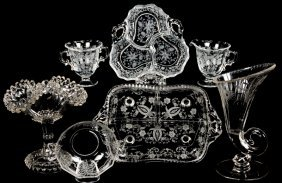 (7) Clear Cambridge Glass And Other Pattern Glass Items