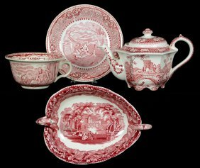 Three Pieces Of English Red And White Transfer Ware