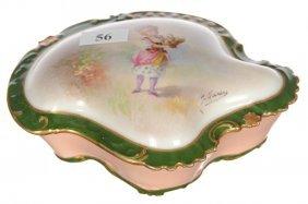 "6"" Limoges Covered Box, Unusual Shape"