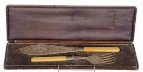 Bone Handle Serving Knife And Fork In Original Case