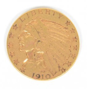 1910 United States Indian Head Five Dollar ($5) Gold
