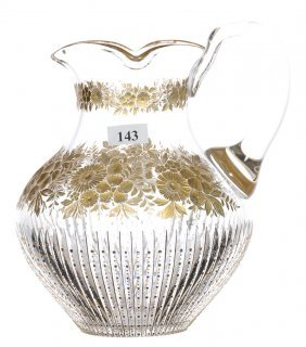 "8"" Cut Glass Prism Motif Water Pitcher With Engraved"