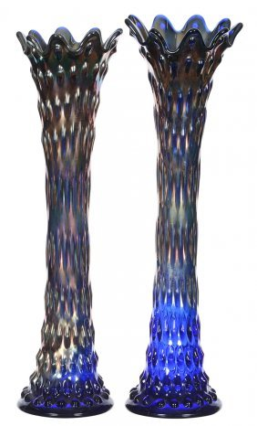 "Pair 16"" Carnival Glass Blue Rustic Pattern Vases By"
