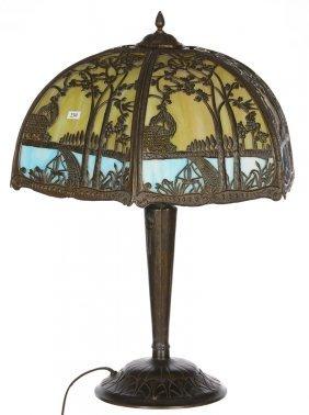 "25"" X 19"" Six-sided Bent Panel Slag Glass Table Lamp"