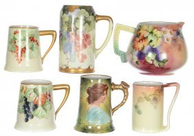 (6) Assorted Limoges Mugs And Pitcher