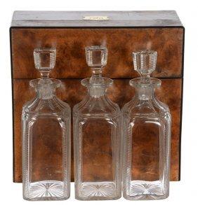 Three Bottle Tantalus Set In Original Velvet Lined