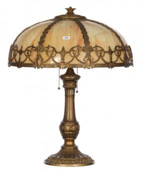 "22"" X 18"" Bent Panel Slag Glass Lamp"