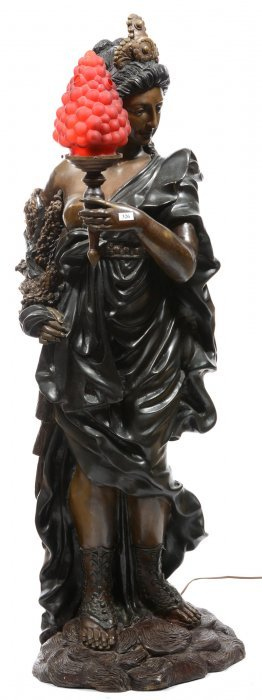 "Extra Large 46"" Figural Bronze Newell Post"