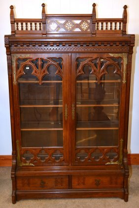 "72"" X 44"" Walnut Library Cabinet"