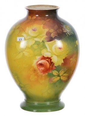 "13 1/4"" Bonn Style Porcelain Vase - Green, Yellow And"