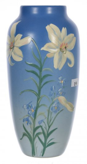 "10"" Marked Weller Art Pottery Vase - Blue Hudson"