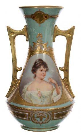 "7 3/4"" Marked Beehive, Two Handled Handpainted Vase -"