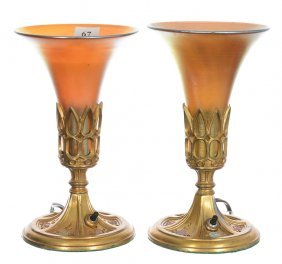 "Pair 8 1/4"" Torchiere Art Glass Desk Lamps - Unmarked"