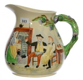 "6 3/4"" Crown Devon Porcelain Pitcher With Original"