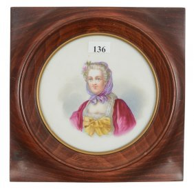 "6"" Marked Sevres Round Plaque Set In 8"" Square Wooden"