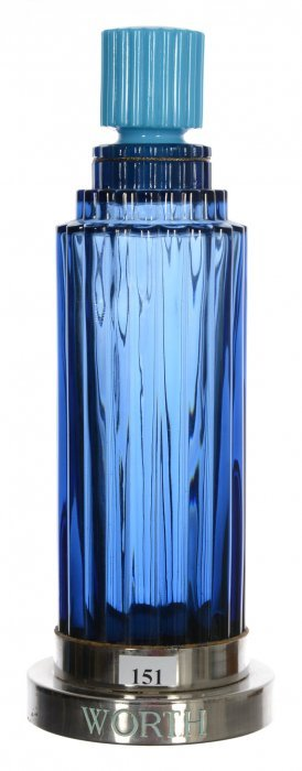 "12"" Blue Ribbed Counter Top Art Glass Display Perfume"