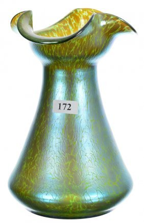"7 3/4"" Unmarked Loetz Art Glass Vase - Green Body With"
