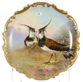 """13"""" Limoges Charger - Game Bird Scenic Decor - Artist"""