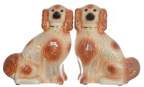 "Pair 13"" X 10 1/2"" Unmarked Staffordshire Spaniels -"