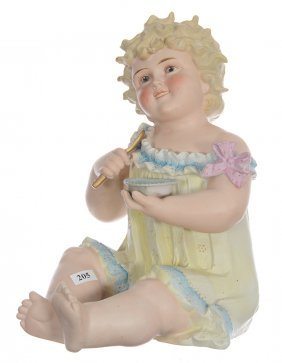 "12"" Marked Germany Bisque Piano Baby - Child Holding"