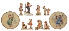 (10) Hummel Figurines & Plates - (1) Skier #59 (missing