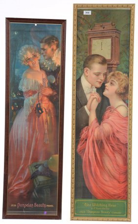 "(2) ""pompeian Beauty"" Advertising Yard Long Calendars,"
