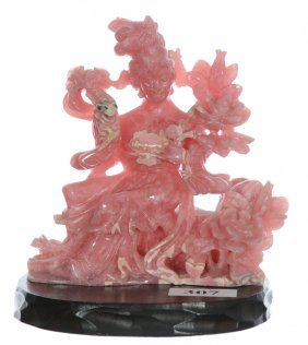 "4"" X 3 3/4"" Carved Rhodochrosite Featuring Geisha &"