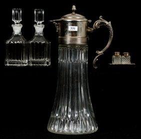 """(4) Pattern Glass Items - Includes - (1) 14"""" Tankard"""