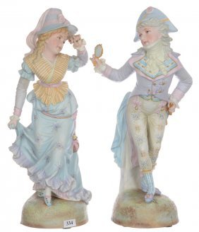 "Pair 16"" French Bisque Figurines - Man And Woman In"