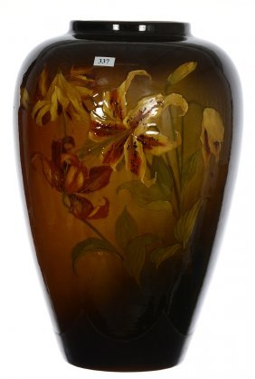 "17 1/2"" Unmarked Weller Art Pottery Vase - Brown Tones"
