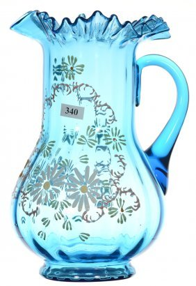 "10 1/2"" Blue Art Glass Water Pitcher With Enamel Daisy"